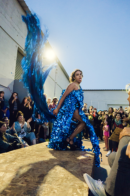 Bonanza, Heart of the Ocean aka Big Blue (parade float prom dress), 2018. Parade float Mylar, yellow rope. Photo by Lenny Gonzalez.