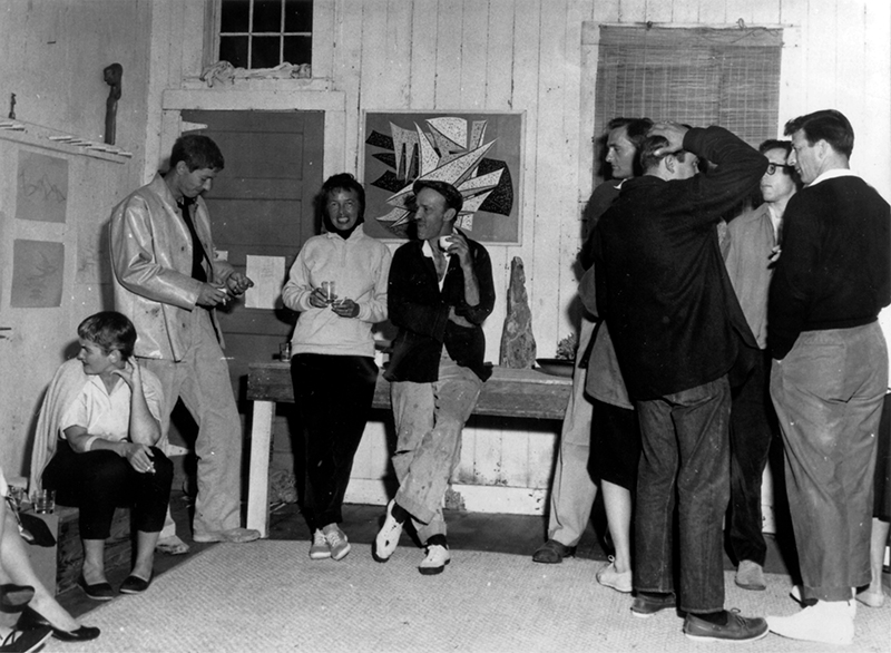 A party at the bunkhouse, supposedly for the unveiling of Lemon's sailboat, Nomel. Lemon and O'Day are center frame. From the Dave Lemon and Jerry O'Day collection.