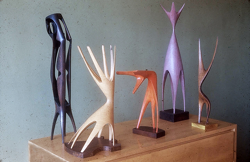 """A grouping of early fifties sculptures by Lemon, including """"The Feminine One."""" From the Dave Lemon and Jerry O'Day collection."""
