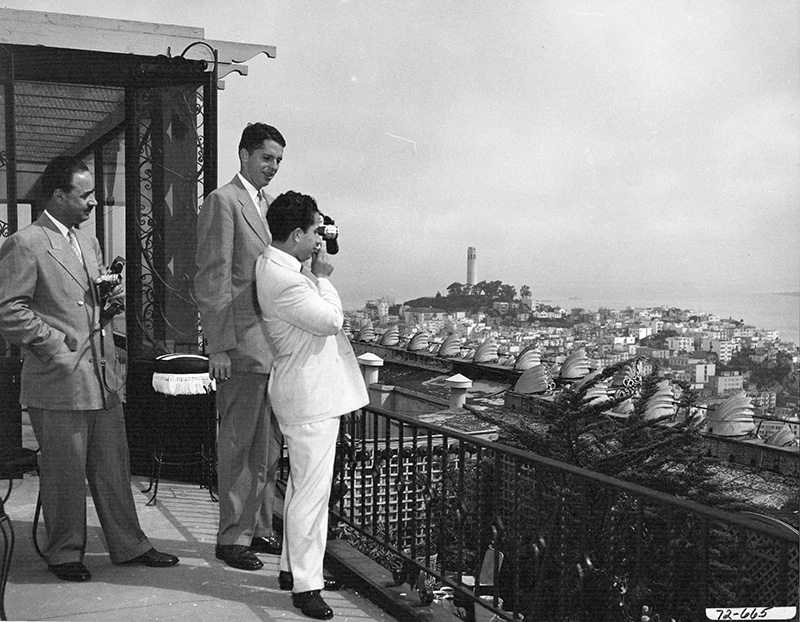 """His Majesty King Faisal II Al-Hashimi of Iraq and His Royal Highness Prince Abdul-Ilah, Regent of Iraq, photographing San Francisco Bay."" Dept. of State, Courtesy of Harry S. Truman Library."