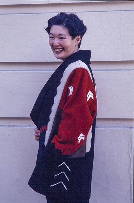 Sandra Sakata modeling Jean Cacicedo's Chevron Jacket, 1997.