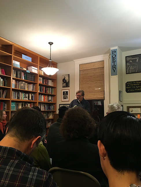Steve Dickison reading his poems at City Lights Bookstore.