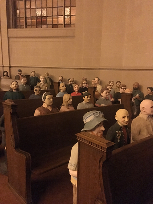 Internet Archive's human-sized sculptures of their employees.