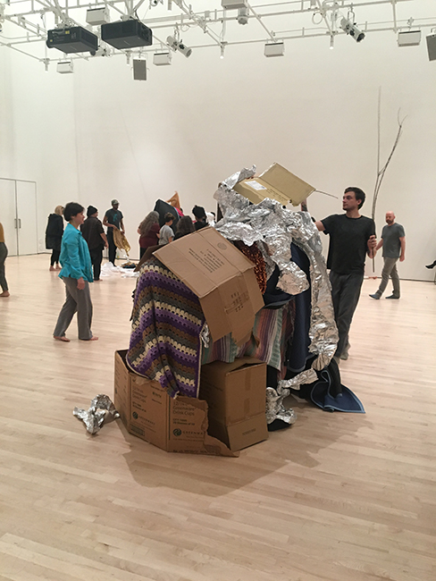 The amorphous forms of the New Age homes that we made out of branches and blankets, covering each other's bodies as part of Keith Hennessy's de(composition) workshop at SFMOMA.