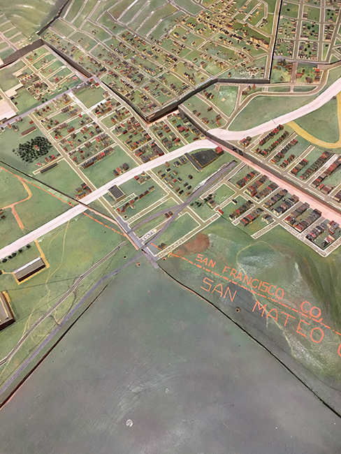 An image of the thousand-square-foot scale model of San Francisco built in the late 1930s Model, lying at San Francisco Public Library Facility and Warehouse.