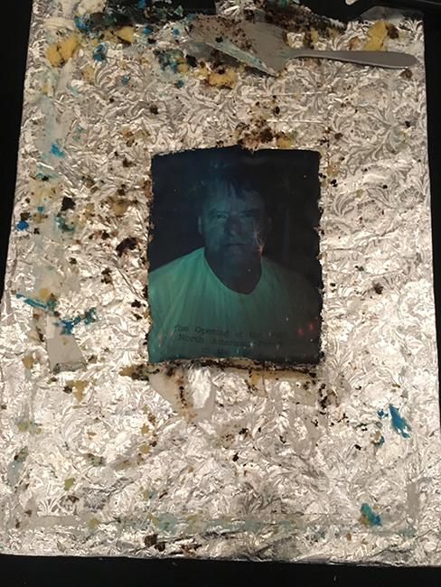 Kevin's memorial cake. Photo: Ari Banias.