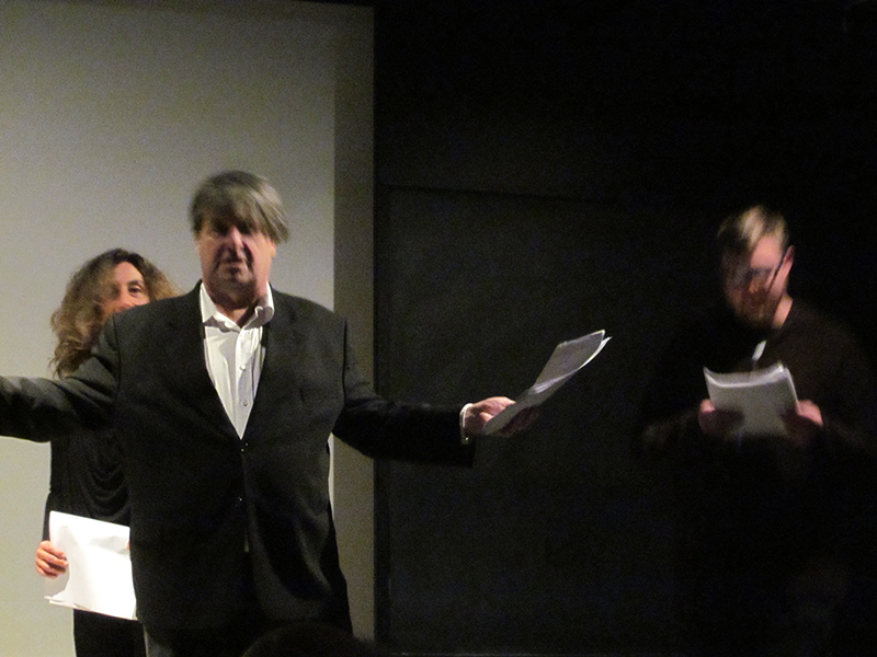 Kevin, Stacy Doris and I performing in a Poets Theater play in 2007. Photo: Alli Warren.