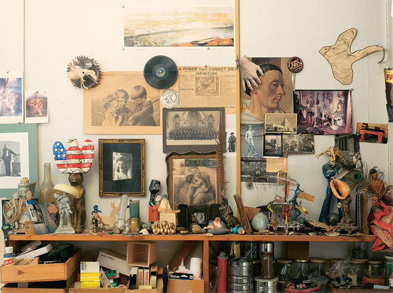 Assembly shelf in Jess's studio. Photo: Ben Blackwell, 2004. © The Jess Collins Trust, used by permission.