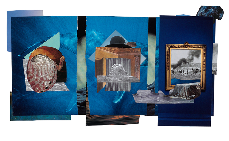 """Abalone, the Rock, and Standing, 2019. Collage — digital print, 21"""" x 34""""."""