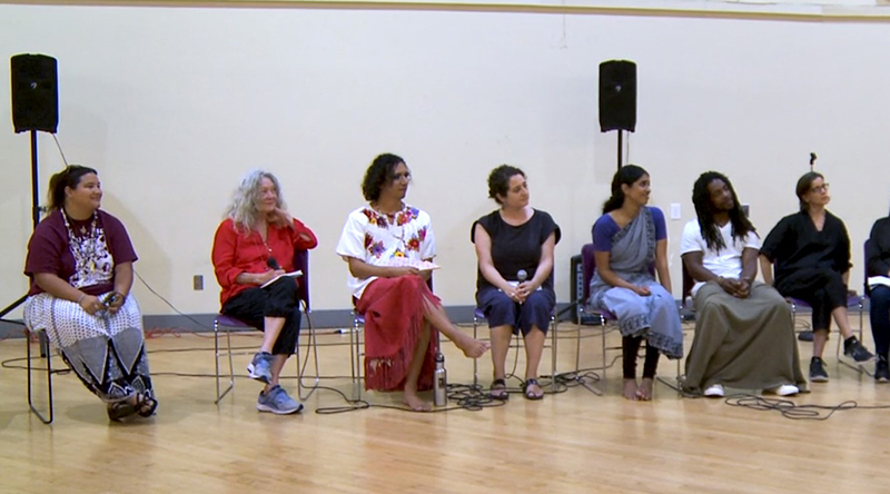 During the Inherited Bodies post-performance discussion at the Women's Building. From left to right: Kanyon Sayers-Roods (Mutsun-Ohlone, California Native), who began the evening with a land acknowledgment in Yelamu; artists Sara Shelton Mann and Snowflake Towers; moderator Claudia La Rocco; artists Nadhi Thekkek and Jarrel Phillips; and Hope Mohr, the co-presenter of Inherited Bodies.