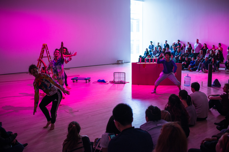 Rashaun Mitchell + Silas Riener's DESIRE LINES: RETROFIT, performed by Eleanor Hullihan, Cori Kresge, Mina Nishimura, Mitchell, and Riener, January 11-13, 2018, at SFMOMA. Photo: Charles Villyard.