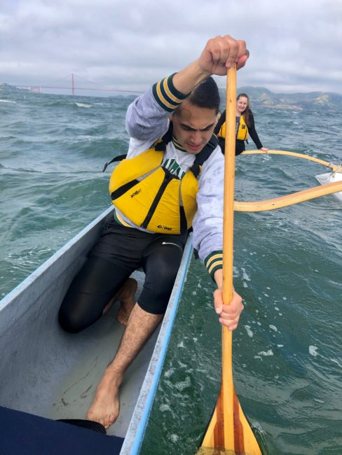 Julian Brave NoiseCat on a practice run in the waters around Alcatraz Island.