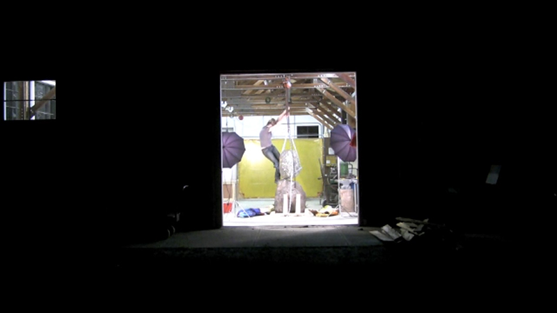 Catherine Fairbanks, screenshot of Vignettes of Thereness, the Making of a Rock Snowman, 2011-2013, video.