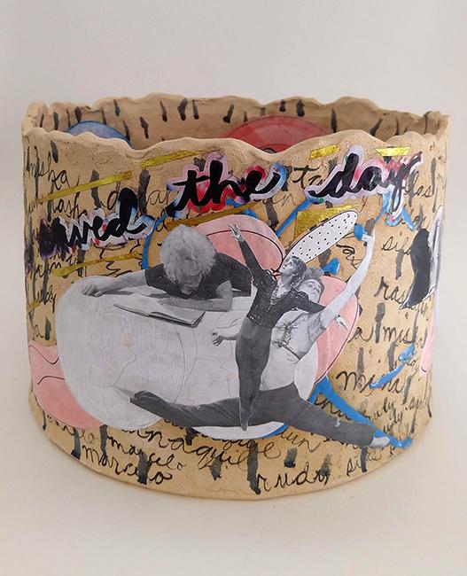 Catherine Fairbanks, Simone, You Saved The Day, 2019; high-fire ceramic, paper, matte medium.