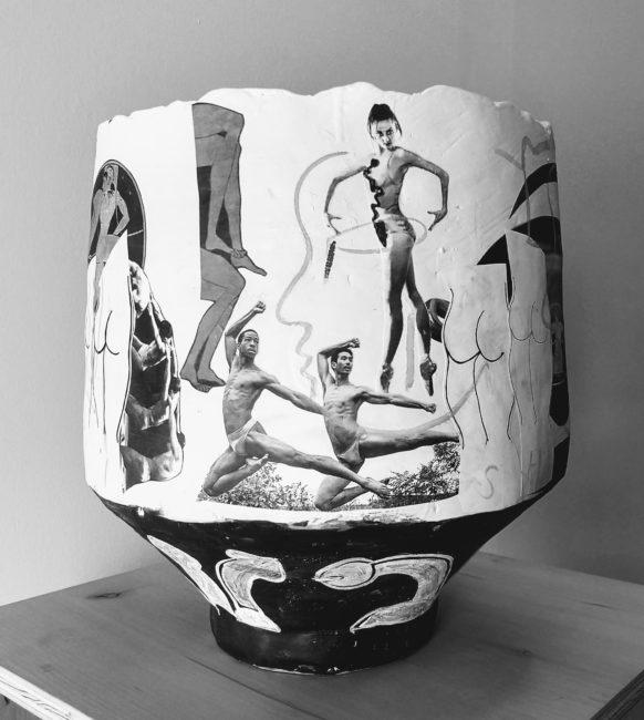 Catherine Fairbanks, <em>Adam Weinert Does Ted Shawn</em>, 2019; high fire ceramic, paper, gouache, matte medium. Image courtesy Adam Novak and Karl Burkart.
