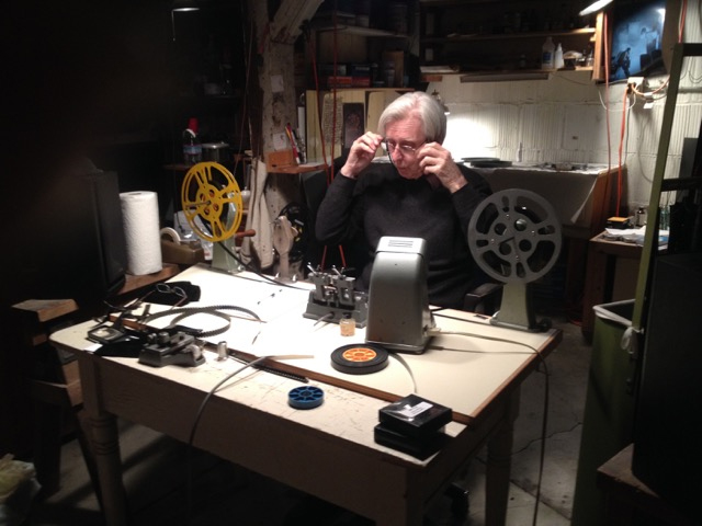 Jerome Hiler at his editing table, 2016. Photo: Nathaniel Dorsky.