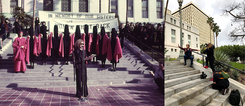 Left: Suzanne Lacy on the steps of Los Angeles City Hall for the work In Mourning and In Rage in 1977; Right: Suzanne at the same site, for interview with SFMOMA in 2019.
