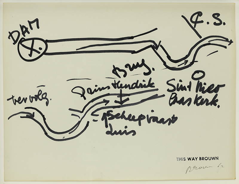stanley brouwn, Untitled [This way Brouwn], 1962. Felt-tip pen and ink on paper; collection of Robin Wright and Ian Reeves © stanley brouwn. Photographer: Katherine Du Tiel.