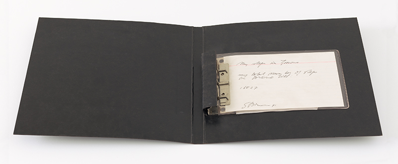stanley brouwn, My Steps in Torino—My total number of steps in Torino: 16,827, 1971. Index card, ink, portfolio binder, and plastic sleeve The Panza Collection. Purchase, by exchange, through the bequest of J.D. Zellerbach and gifts of Mrs. Charles DeYoung Elkus, Mr. and Mrs. William C. Janss, Mr. and Mrs. Alfred Jaretzki, Jr., Harriet Lane Levy, and anonymous donors, and the Accessions Committee Fund. © stanley brouwn; Photographer: Katherine Du Tiel.