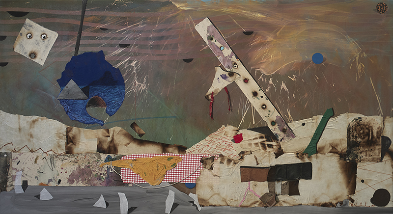 Mike Henderson, Cloud Nine, 1977; acrylic and mixed media on canvas, 54 x 100 inches. Courtesy of the artist and Haines Gallery, San Francisco.