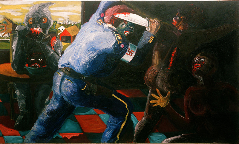 Mike Henderson, Non Violence, 1968; oil on canvas, 72 x 120 inches. Courtesy of the artist and Haines Gallery, San Francisco