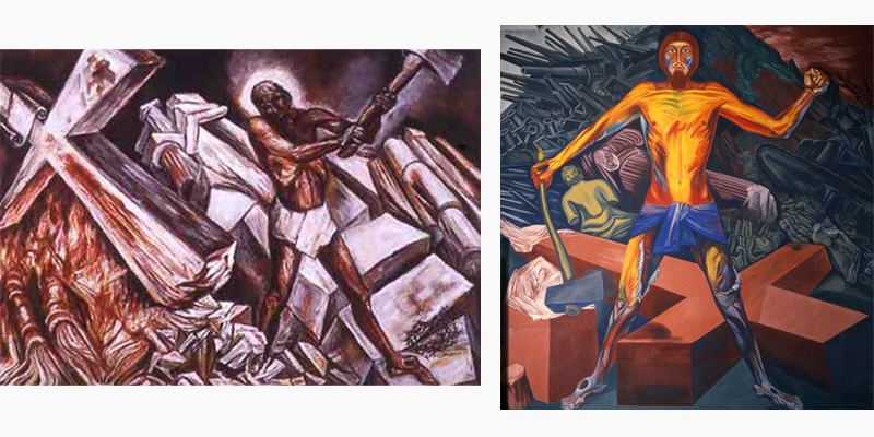 José Clemente Orozco's Jesus Destroying His Cross, 1943 (left) and Modern Migration of the Spirit (1932–34).