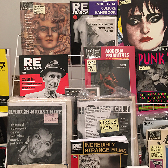 The RE/Search Publications book display at the Small Press Book Bazaar!; SFMOMA, December 8, 2019. Photo: V. Vale.
