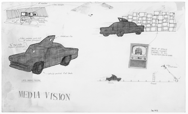 The earliest conception drawing of what would become Media Burn, here titled Media Vision in 1973. Notice that this version called for functional television sets, reproducing the image of the onrushing car. Drawing by Doug Michels. From the Ant Farm Archive, housed at the Berkeley Art Museum and Pacific Film Archive.