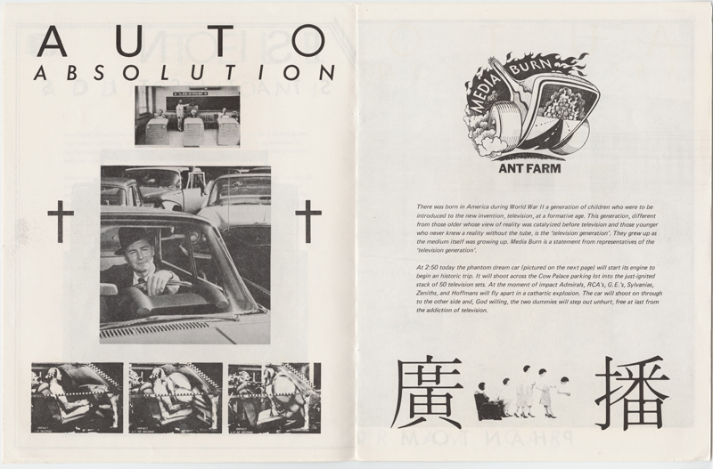 Two pages excerpted from the twelve page Media Burn souvenir brochure, sold for $1 at the July 4th performance. Notice the crash dummy photographs on the left side. This was the origin of the Artist-Dummy concept. The souvenir brochure contained television addiction statistics, a feedback card, and the entire text of the Artist-President speech. From the Ant Farm Archive, housed at the Berkeley Art Museum and Pacific Film Archive.