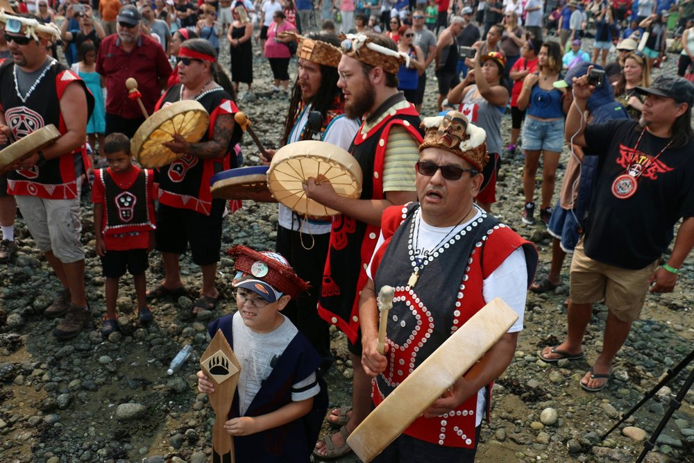 Campbell River, BC Canoe Journey Traditional Drummers-2016